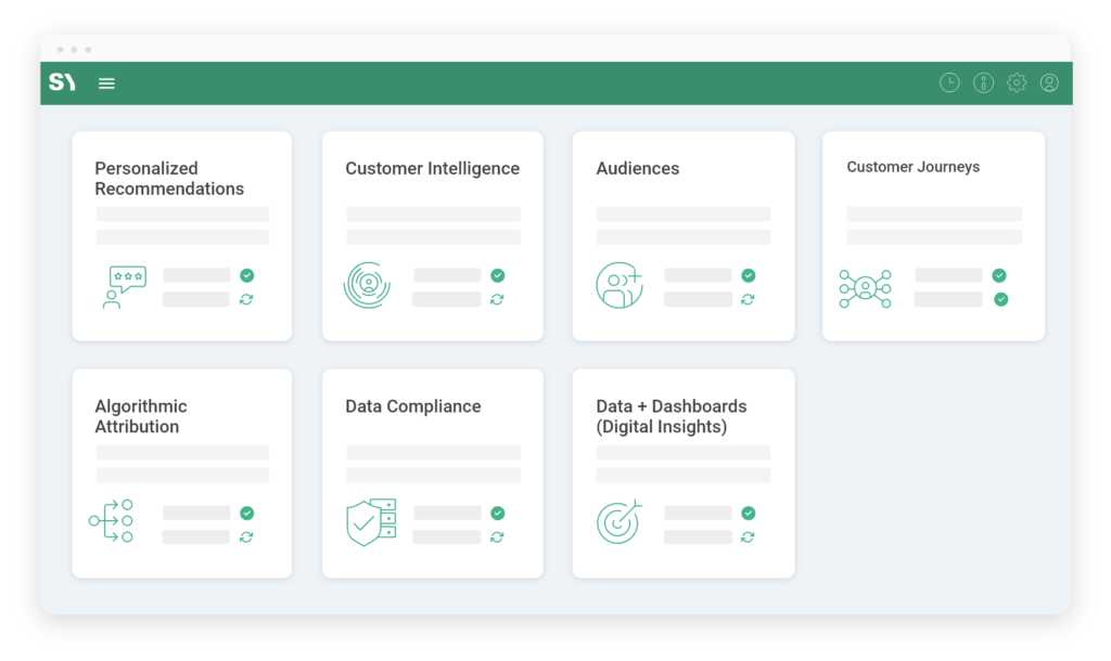Personalized Recommendations, Customer Intelligence, Audiences, Customer Journeys, Algorithmic Attribution, Data Compliance, Data+ Dashboards (Digital Insights)